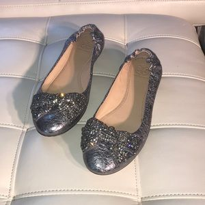 Tory Burch silver embellished flats
